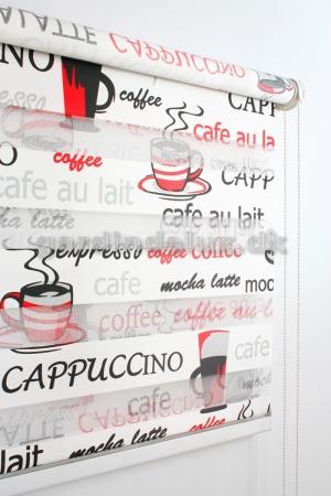 Rød coffee print zebra gardin
