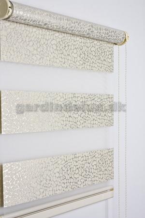 Ecru mønstret zebra gardin 440